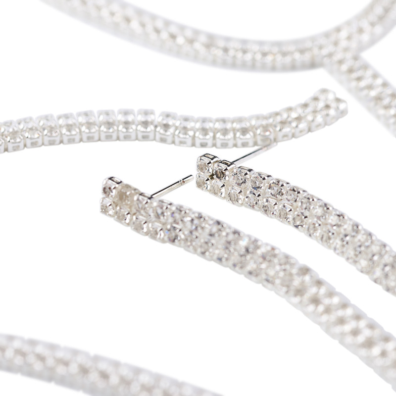 "Rhodium Plated Diamante ""Y"" Necklace and Earrings Set -"