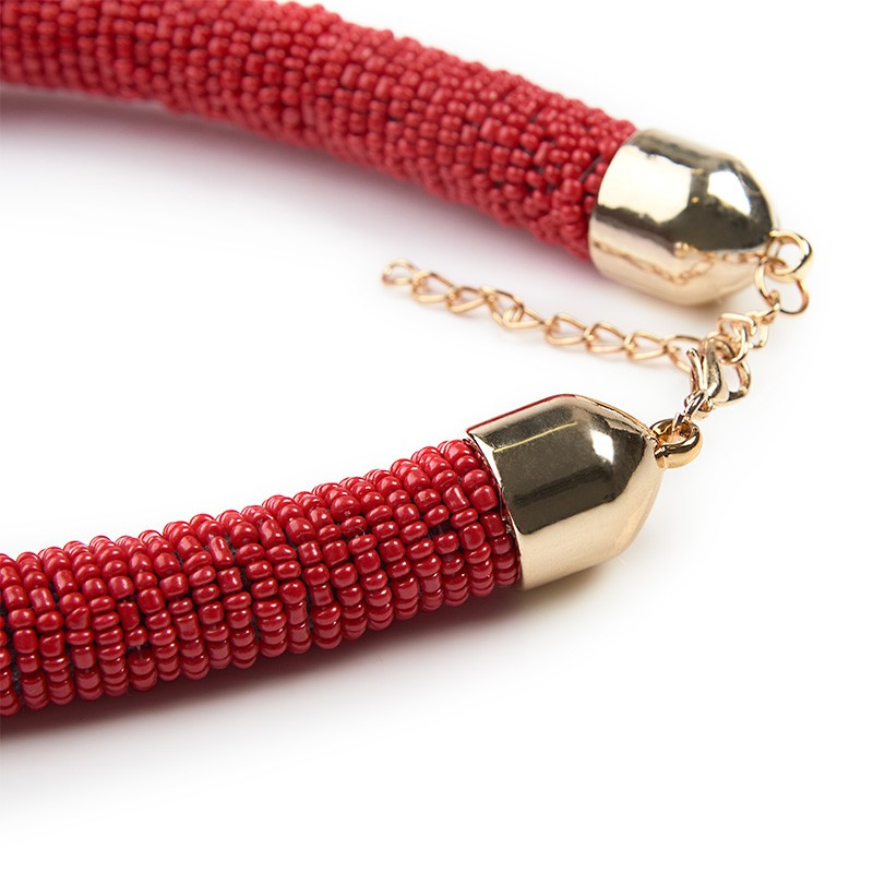 Red Seedbead Necklace -