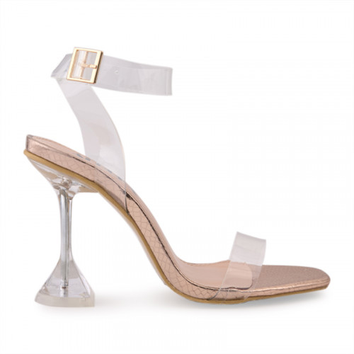 Rose Gold Snake Clear Stiletto Heel Sanda -