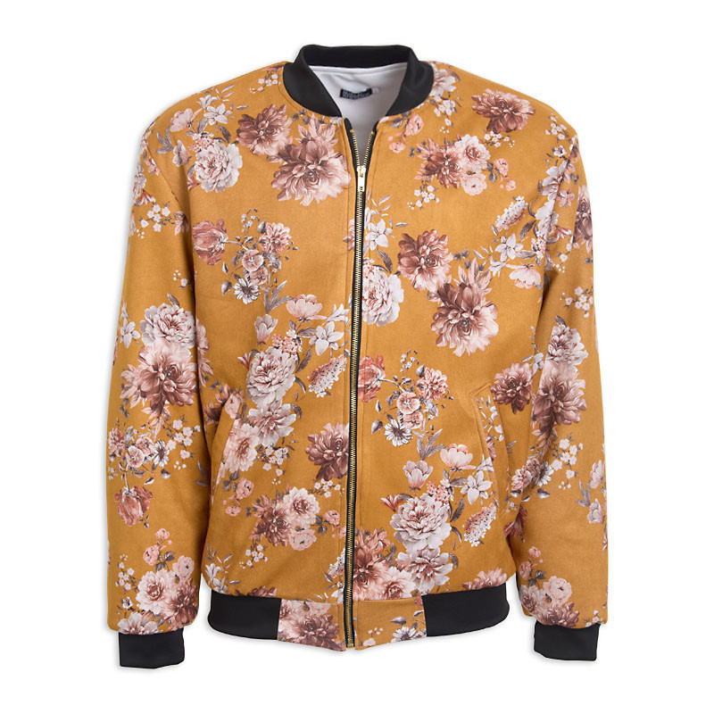 Gold Floral Bomber Jacket -