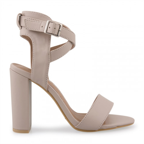 Nude PU With Crossover Ankle Tie Sandal -