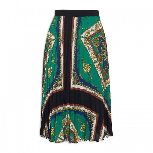 Pleated Scarf Print Skirt -