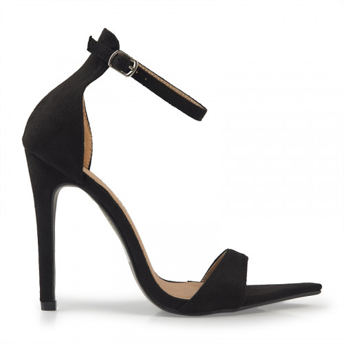 Black Suede Stiletto Sandal -