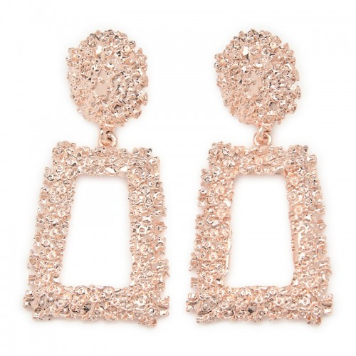 Rose Gold Trapezoid Earring -