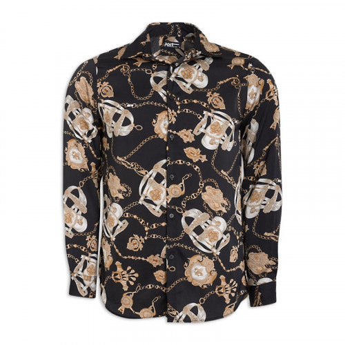 Black Chain Print Long Sleeve Shirt -