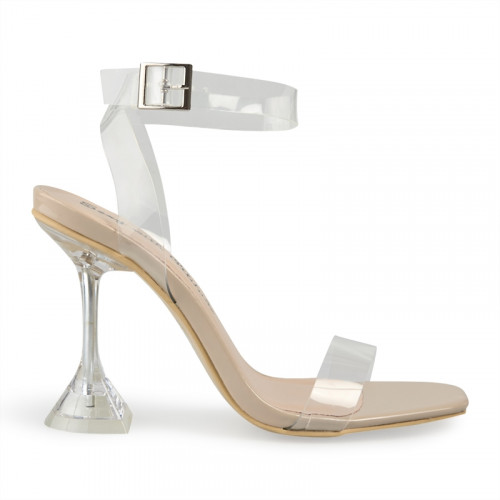 Nude Patent Clear Sandal -