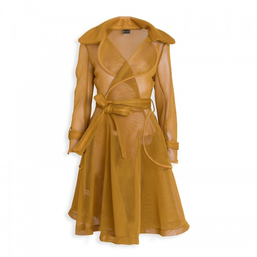Mustard Honeycomb Coat -