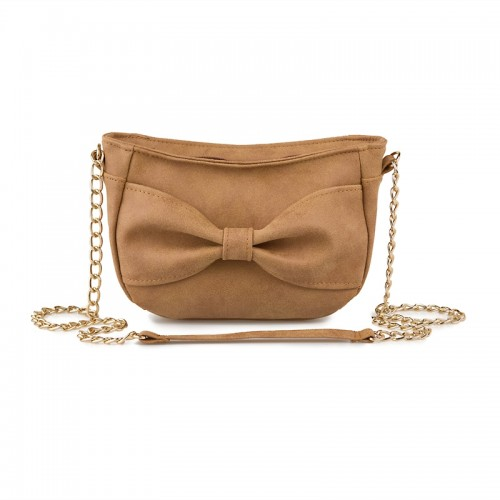Tan Bow Bag -