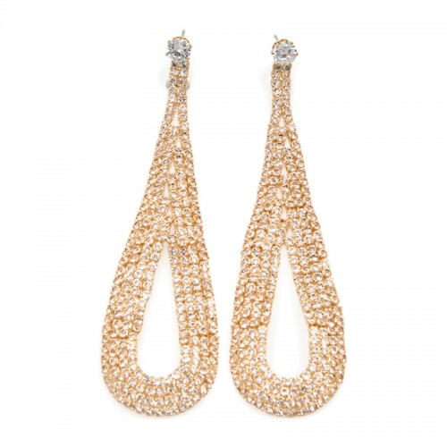 Gold Diamante Long Teardrop -