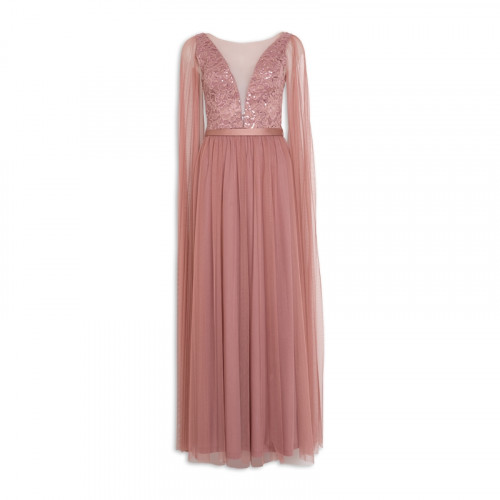 Rose Cape Maxi Dress -