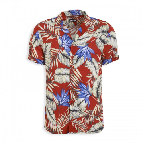 Rust Floral Short Sleeve Shirt -