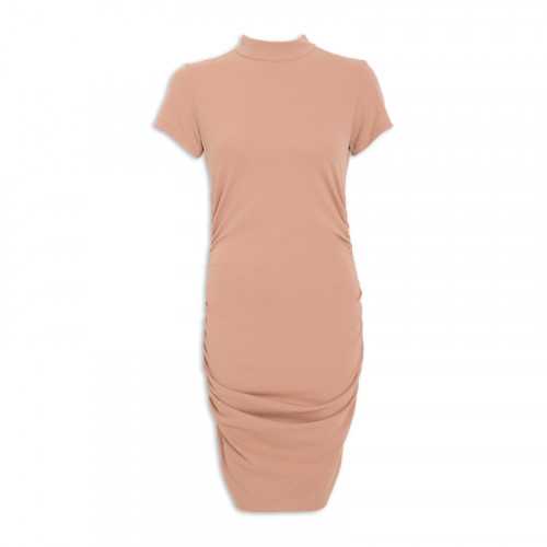 Camel Gauged Dress -