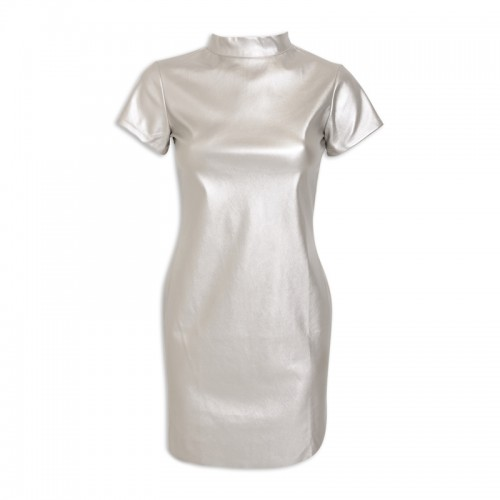 Silver Pleather Dress -