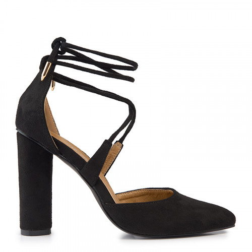 Black Suede Block Heel Closed Toe Sandal -