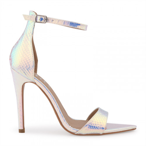 Silver Hologram Snake Ankle Buckle Open Toe Sandal -