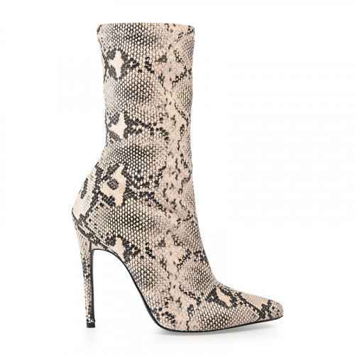 Natural Snake Ankle Boot -