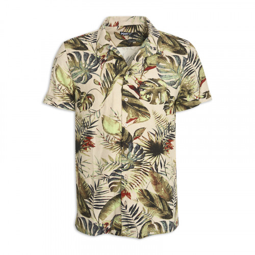 Stone Floral Short Sleeve Shirt -