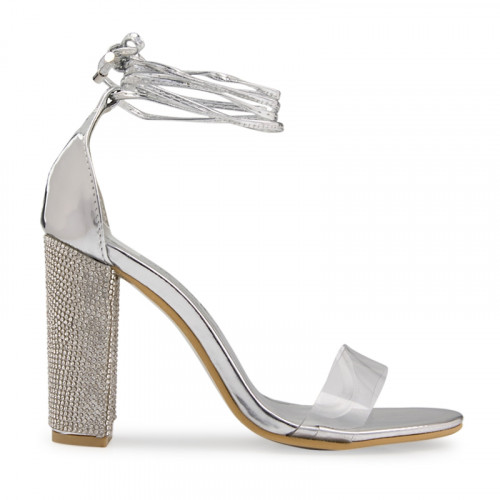 Silver Chrome Diamante Heel Sandal -