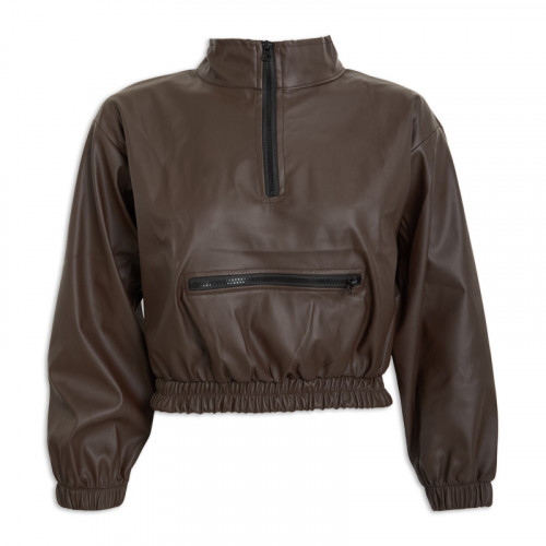 Brown PU Leather Jacket -