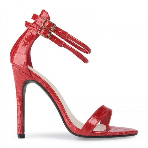 Red Ankle Tie Sandal -