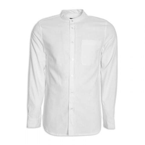 White Linen Long Sleeve Mandarin Shirt -