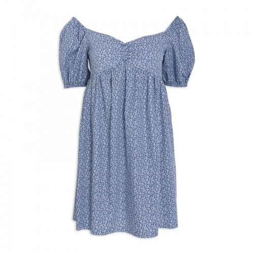 Blue Floral Babydoll Dress -