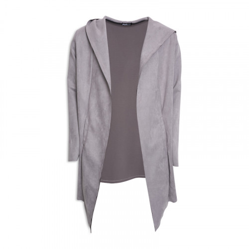 Grey Suede Cardigan -