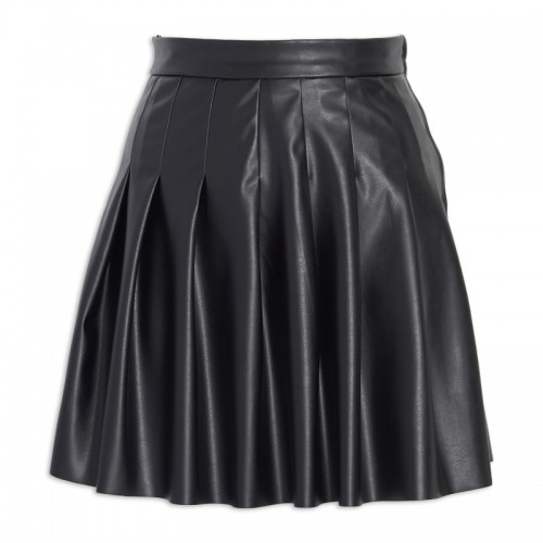 Black Pu Pleated Skirt -