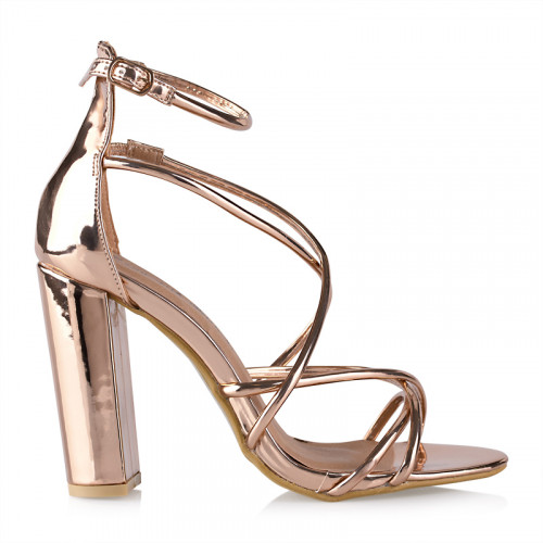 Rose Gold Ankle Tie Sandal -