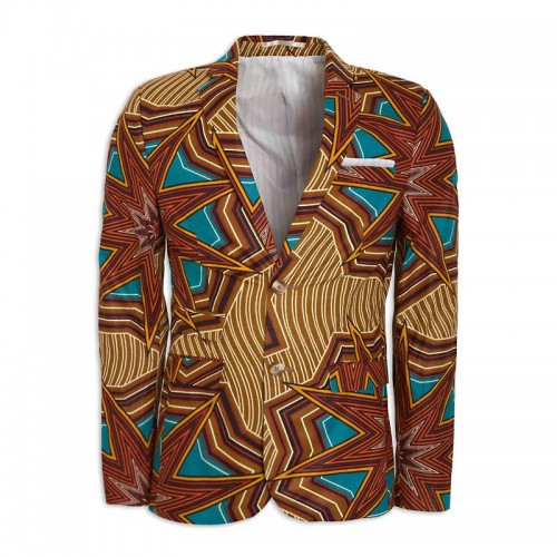 Brown African Print Suit Jacket -