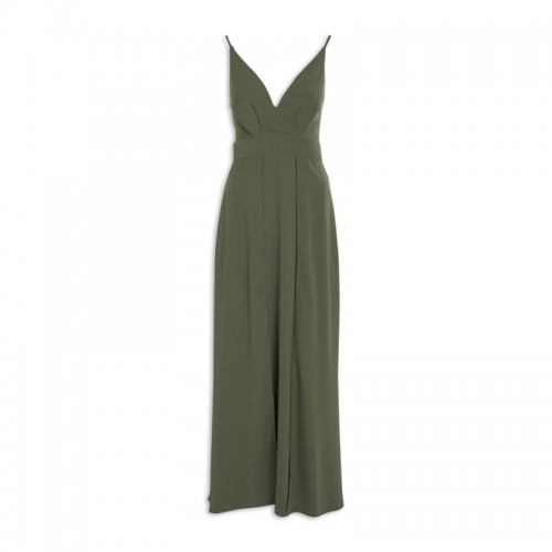 Khaki Knot-Back dress -