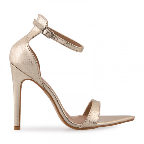 Gold Snake Stiletto Ankle Tie Sandal -