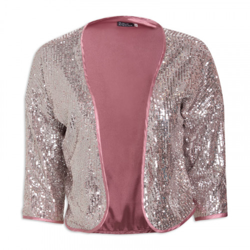 Silver and Nude Sequins Bolero Jacket -