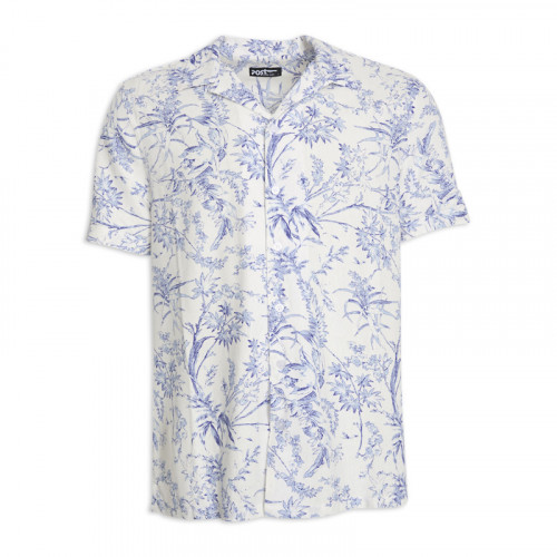 White Floral Short Sleeve Shirt -