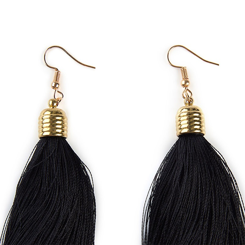 Black Tassel Earrings -