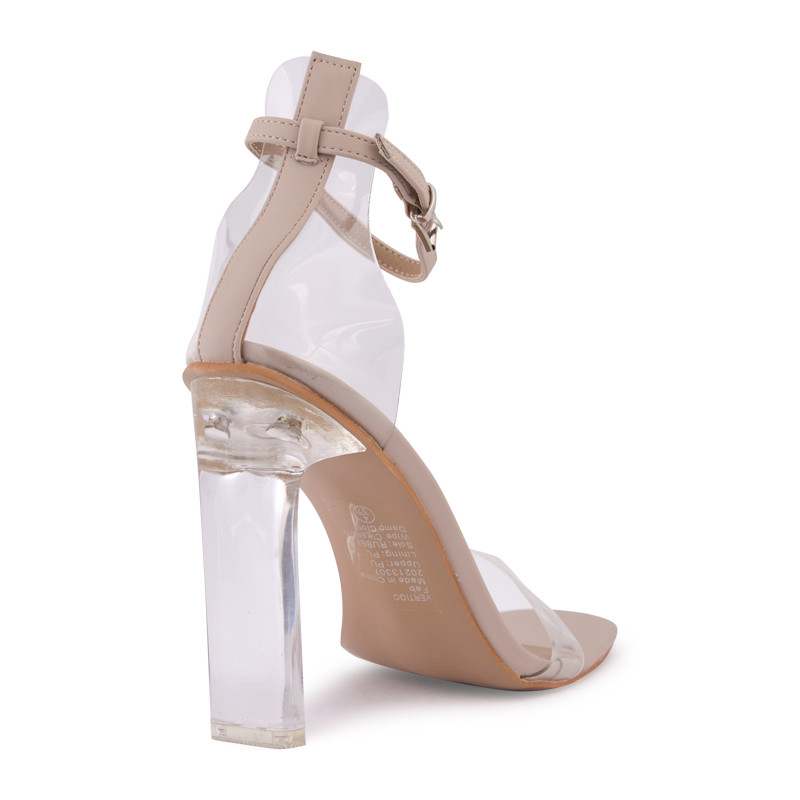 Nude Clear Sandal With Ankle Tie -