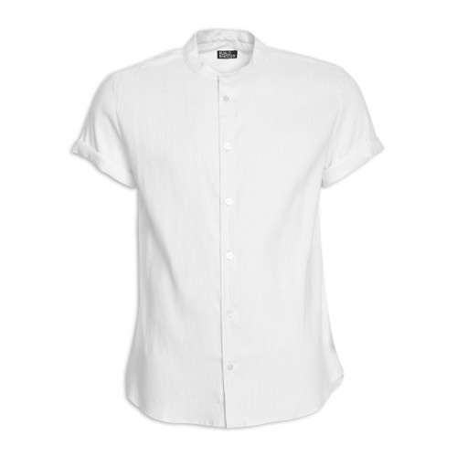 White Linen Mandarin Short Sleeve Shirt -