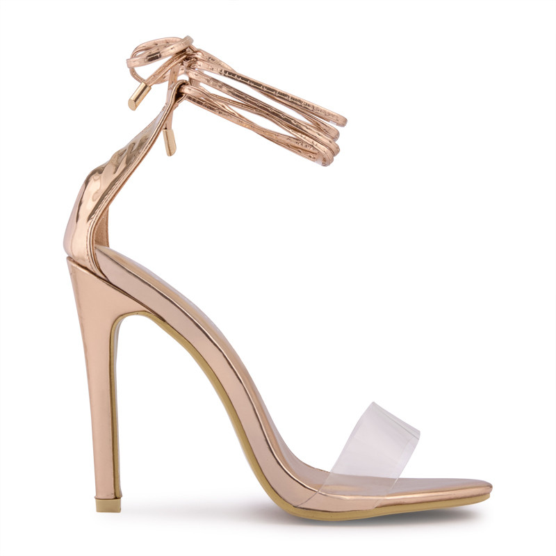 Rose Gold Chrome With Clear Vamp Sandal -