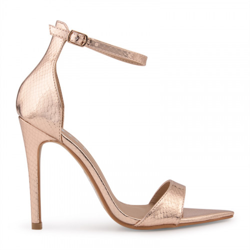 Rose Gold Snake Ankle Buckle Open Toe Sandal -