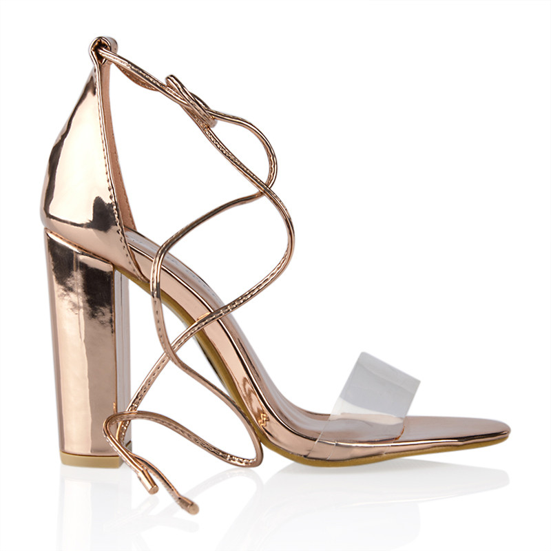 Rose Gold Chrome Sandal With Tie Straps -