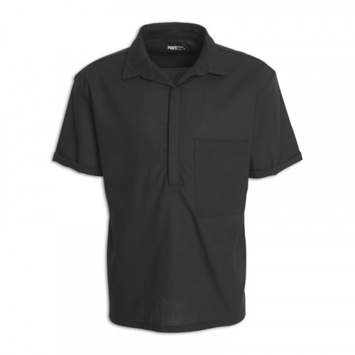 Black Linen Short Sleeve Shirt -