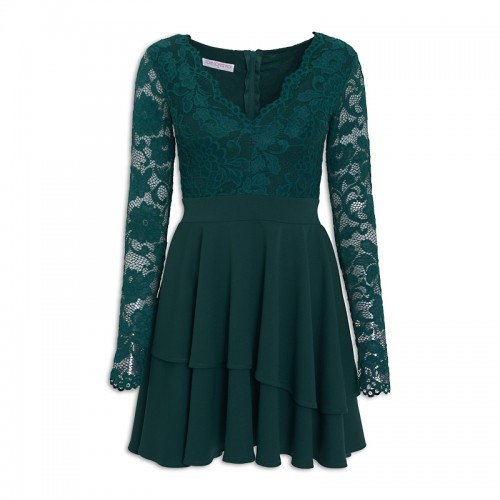Emerald Scallop Dress -