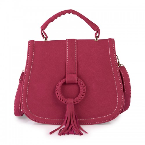 Pink Tassel Saddle Bag -