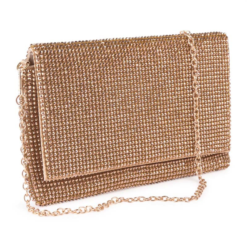 Rose Gold Diamante Clutch -