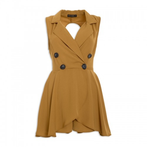 Mustard Double-Breasted Playsuit -