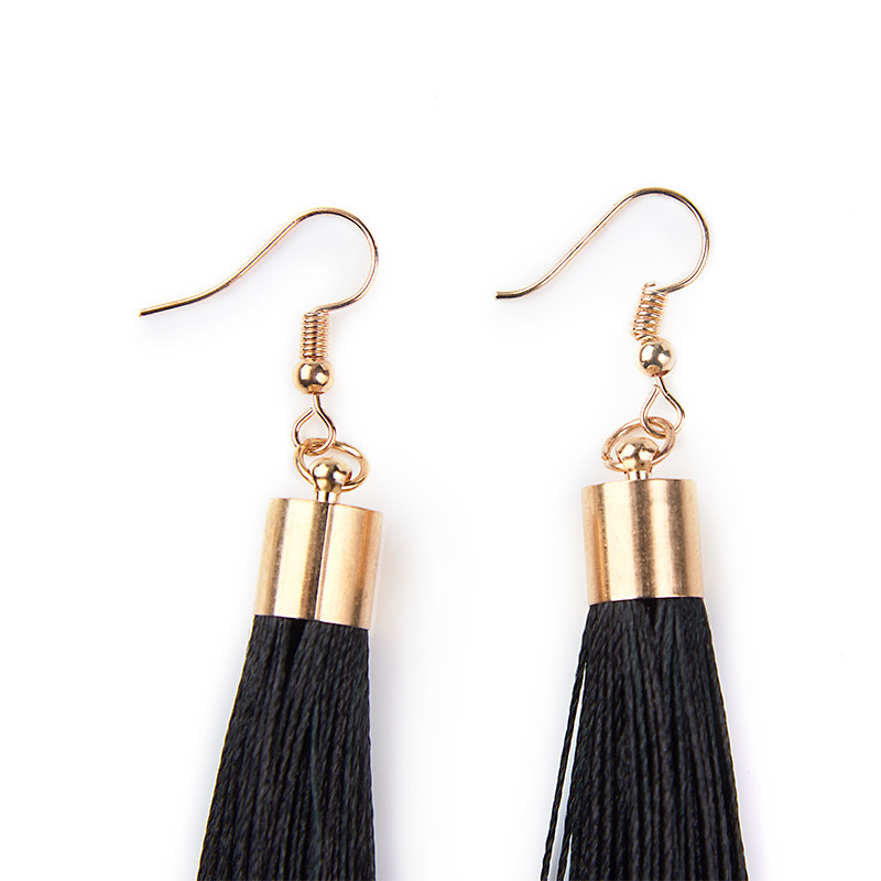 Black Mega Tassel earrings (36cm) -