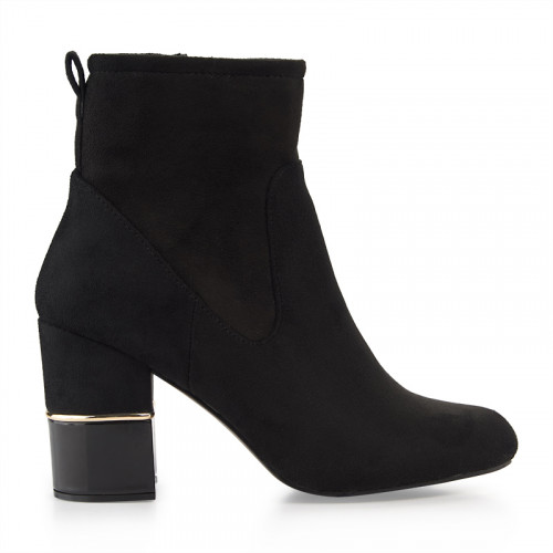 Black Suede Block Heel Ankle Boot -