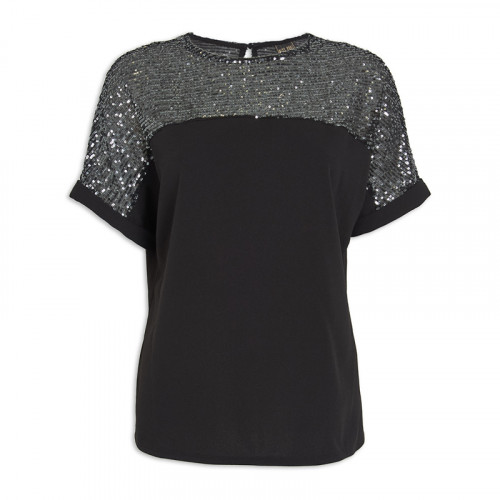 Black Sequin T-Shirt -