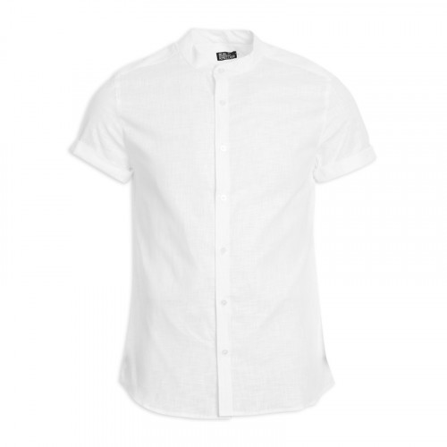 White Short Sleeve Mandarin Shirt -
