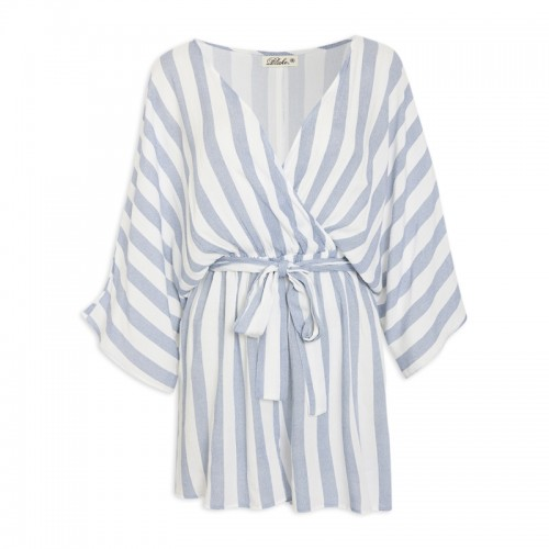 Stripe Wrap Waist Playsuit -